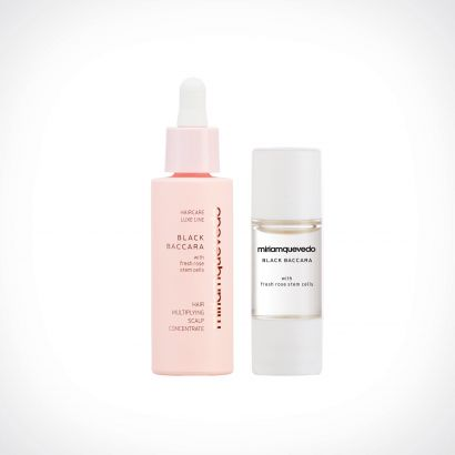 Miriam Quevedo Black Baccara Hair Multiplying Scalp Concentrate + Pre-Treatment Exfoliator | specialios priemonės plaukams | 30 ml + 10 ml | Crème de la Crème