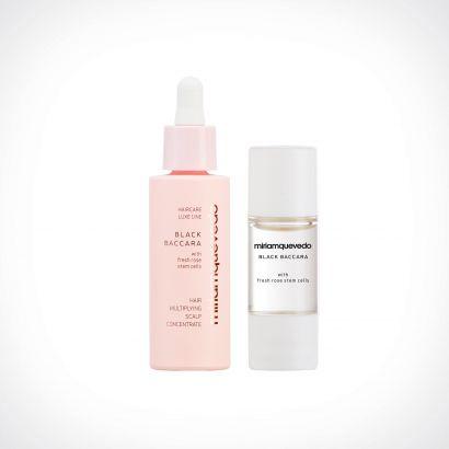 Miriam Quevedo Black Baccara Hair Multiplying Scalp Concentrate + Pre-Treatment Exfoliator | specialios priemonės plaukams | 30 ml + 10 ml | Crème de la Crème